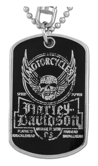Harley-Davidson Dog Tag, Winged Skull Distressed Chain/Keychain, Silver 8002763 - Wisconsin Harley-Davidson