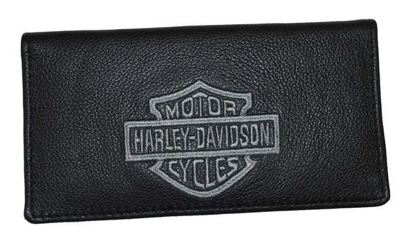 Harley-Davidson Silver Bar & Shield Black Leather Checkbook Cover FC806H-2G - Wisconsin Harley-Davidson
