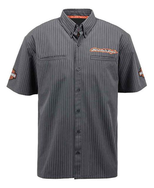 Harley-Davidson Mens Screamin' Eagle Tonal Pinstripe Crew Woven Shirt HARLMW0054 - Wisconsin Harley-Davidson