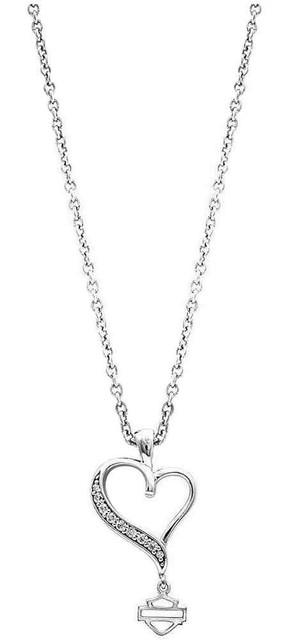 Harley-Davidson Women's Necklace, Embellished Rebel Heart, Silver HDN0315-18 - Wisconsin Harley-Davidson