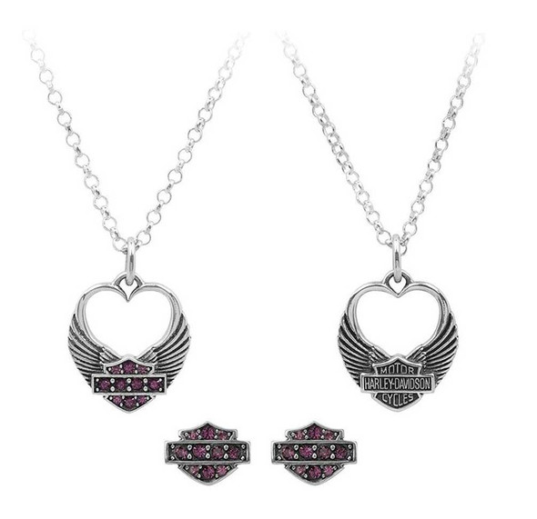 Harley-Davidson Womens Winged Heart Necklace & Earrings Gift Set, Purple HDS0003 - Wisconsin Harley-Davidson
