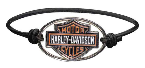 Harley-Davidson Bar & Shield Metal Charm Logo Elastic Wristband, Black WB30206 - Wisconsin Harley-Davidson