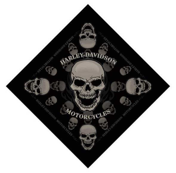 Harley-Davidson Devour Skull Bandana Black 24'' x 24'' BA129830 - Wisconsin Harley-Davidson