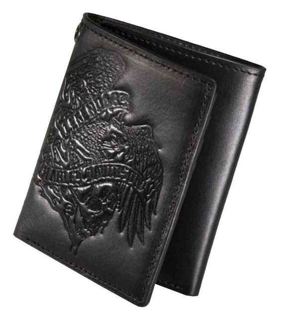 Harley-Davidson Men's Debossed Eagle Tri-Fold Wallet, Black Leather 97634-16VM - Wisconsin Harley-Davidson