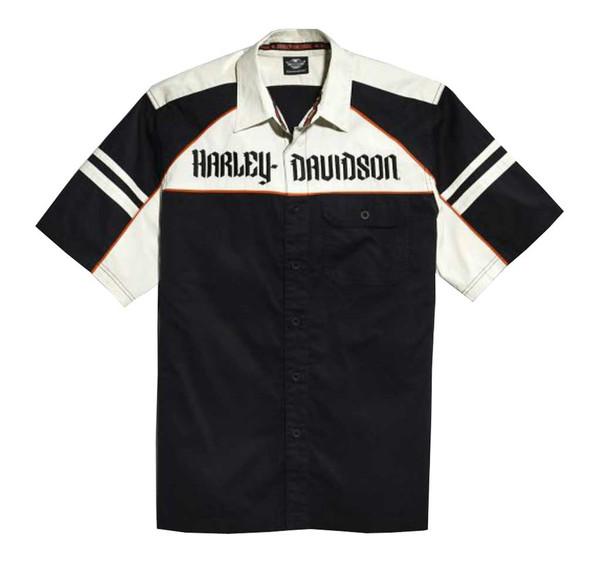 Harley-Davidson Men's Woven Shirt, Colorblocked B&S Short Sleeve 96435-15VM - Wisconsin Harley-Davidson