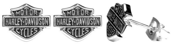 Harley-Davidson Women's Stud Earrings, Medium Bar & Shield Logo, Silver HDE0231 - Wisconsin Harley-Davidson