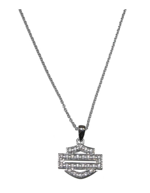Harley-Davidson Women's Necklace, Bling Bar & Shield Outline, Silver HDN0324 - Wisconsin Harley-Davidson