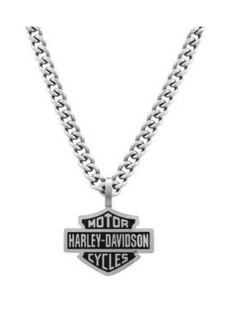Harley-Davidson Mens Bar & Shield Curve Link Necklace Stainless Steel HSN0021-22 - Wisconsin Harley-Davidson
