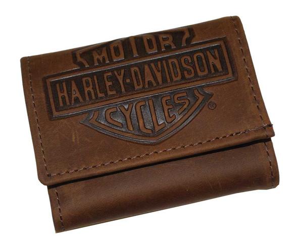 Harley-Davidson Men's Embossed Bar & Shield Tri-Fold Wallet Brown FT300H - Wisconsin Harley-Davidson