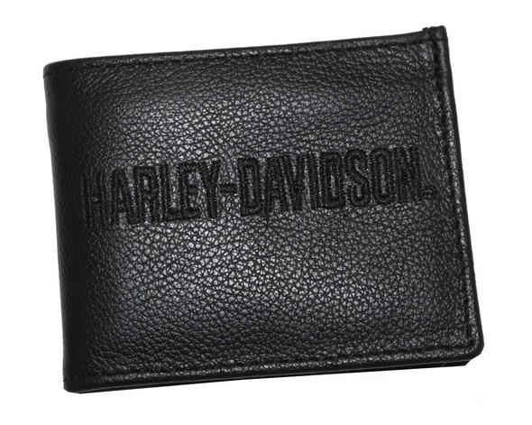 Harley-Davidson Men's Embroidered H-D Wallet Black Leather FB808H-7B - Wisconsin Harley-Davidson