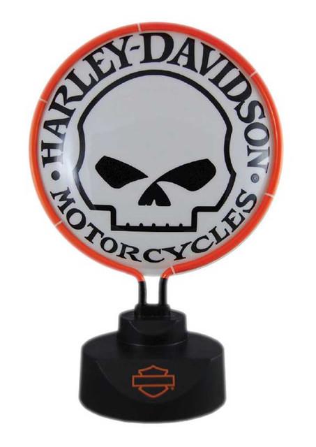 Harley-Davidson Willie G. Skull Neon Table Light - Orange Neon HD-WIL-893 - Wisconsin Harley-Davidson