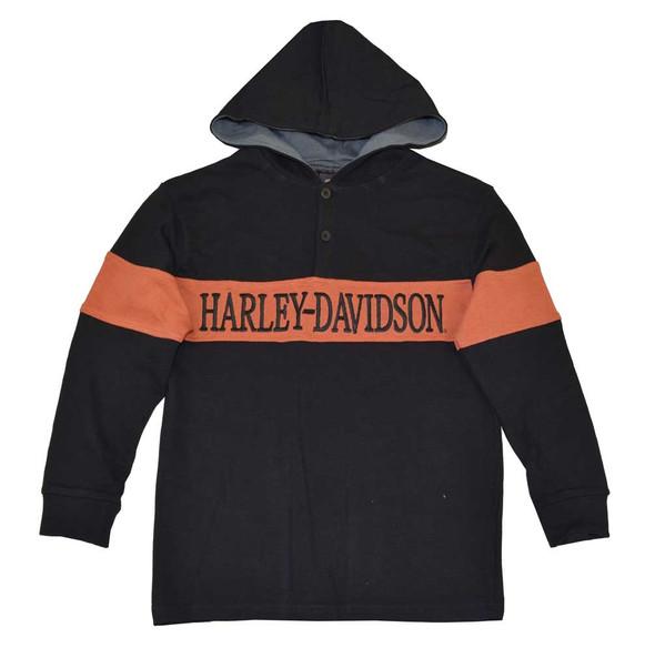 Harley-Davidson Big Boys' Rugby Hoodie, H-D Pullover Sweatshirt, Black 4291390 - Wisconsin Harley-Davidson