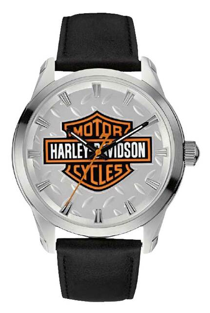 Harley-Davidson Men's Diamond Plate Bar & Shield Watch, Stainless Steel 76A145 - Wisconsin Harley-Davidson