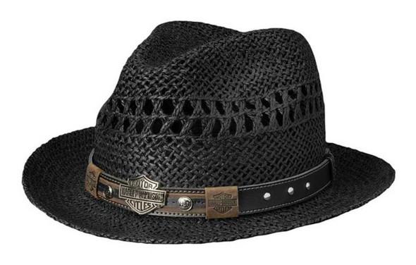 Harley-Davidson Men's Bar & Shield Studded Toyo Vented Straw Hat Black HD-752 - Wisconsin Harley-Davidson