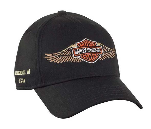 Harley-Davidson Bar & Shield Straight Wings Baseball Cap, Black BC33930 - Wisconsin Harley-Davidson