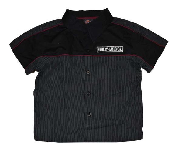 Harley-Davidson Little Boys' Button Shirt, Striped Mechanic Gray Tee 4371580 - Wisconsin Harley-Davidson