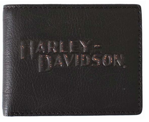Harley-Davidson Men's HD Flip-Fold ID Wallet Black Leather VM2011L-Black - Wisconsin Harley-Davidson