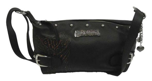 Harley-Davidson Womens Shoulder Purse Bag, Punk H-D Black Leather PK9259L-ORGBLK - Wisconsin Harley-Davidson