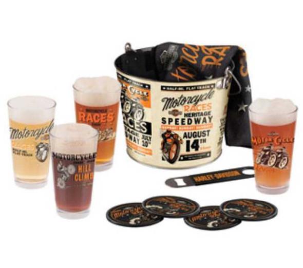 Harley-Davidson Race Day Pint Glass Bucket Set HDL-18736 - Wisconsin Harley-Davidson