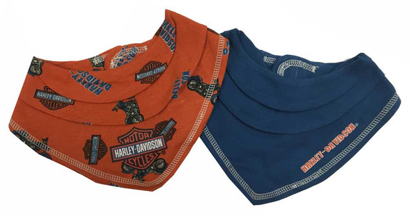 Harley-Davidson Baby Boys' Motorcycle Bandana Bibs Gift Set, Orange/Blue 7051563 - Wisconsin Harley-Davidson