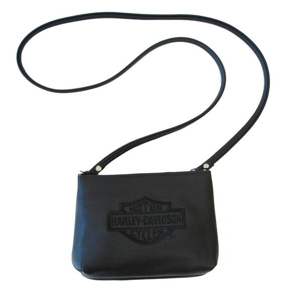 Harley-Davidson Women's Embroidered Bar & Shield Soft Shoulder Bag Black HD29-2B - Wisconsin Harley-Davidson