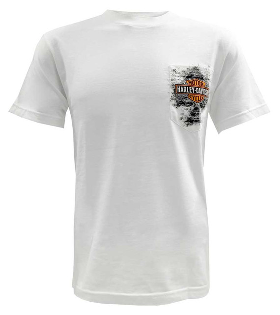Harley-Davidson Men's Short Sleeve Pocket Tee, Distressed Bar & Shield, White - Wisconsin Harley-Davidson