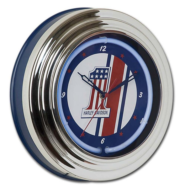 Harley-Davidson #1 Red, White and Blue Racing Blue Neon Clock HDL-16622 - Wisconsin Harley-Davidson