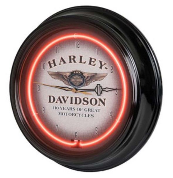 Harley-Davidson 110th Anniversary Bar & Shield Red Neon Clock HDL-16628 - Wisconsin Harley-Davidson