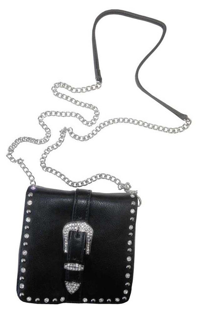 That's A Wrap Women's Belt Buckle Rhinestone Crossbody Bag, Black Leather. 98125 - Wisconsin Harley-Davidson