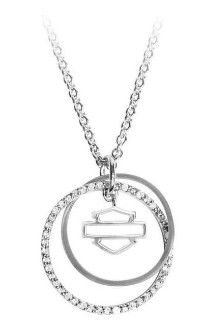Harley-Davidson Women's Double Link Circle Diamond Necklace, Silver HMN0003-18 - Wisconsin Harley-Davidson