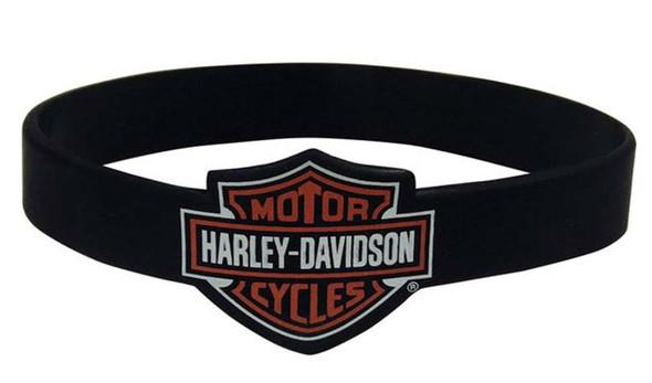 Harley-Davidson Bar & Shield Black Silicone Wristband, 1/2 Inches Thick WB30230 - Wisconsin Harley-Davidson