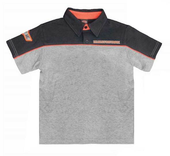 Harley-Davidson Little Boys' Colorblocked Short Sleeve Polo, Black/Gray 1071686 - Wisconsin Harley-Davidson