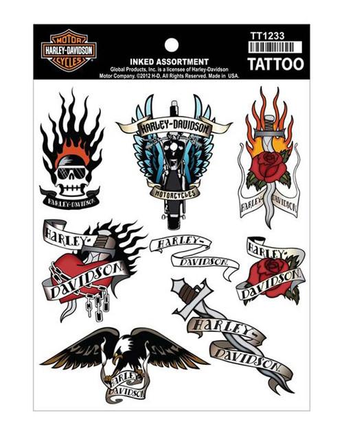 Harley-Davidson Inked Assortment Temporary Tattoo Sheet TT1233 - Wisconsin Harley-Davidson