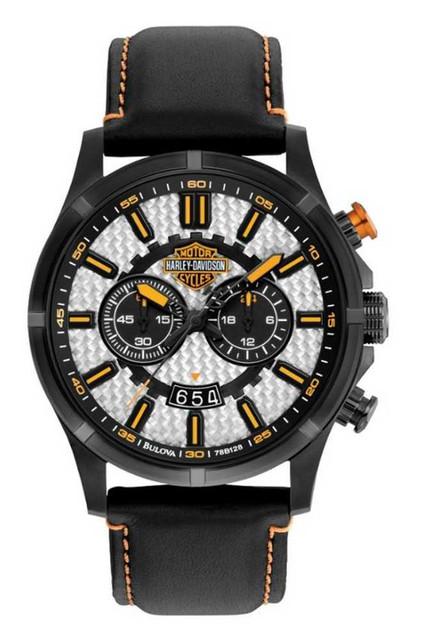 Harley-Davidson Men's Carbon Fiber Chronograph Wrist Watch 78B128 - Wisconsin Harley-Davidson