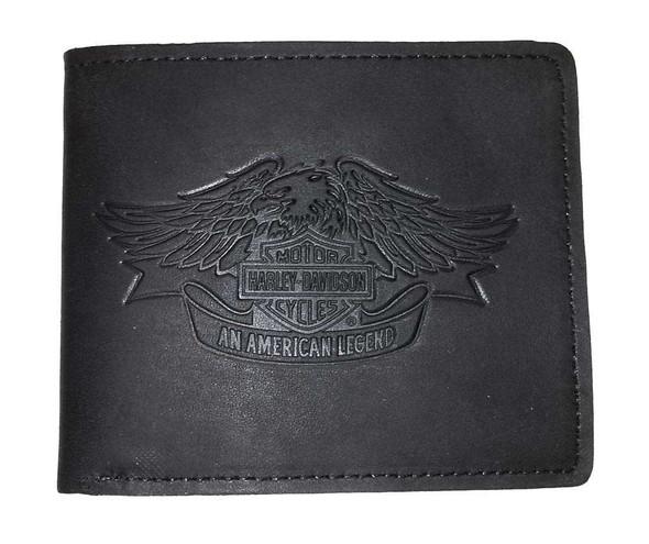 Harley-Davidson Mens Eagle Biker Bi-Fold Blk Leather Billfold Wallet US1492L-BLK - Wisconsin Harley-Davidson