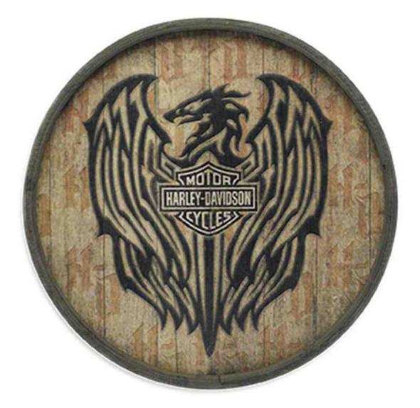 Harley-Davidson Barrel End Wooden Crest Sign Plywood 23in, Bar Garage. 96830-16V - Wisconsin Harley-Davidson