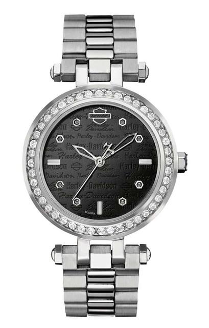 Harley-Davidson Women's Bulova Watch, Embellished Silver Stainless Steel 76L177 - Wisconsin Harley-Davidson