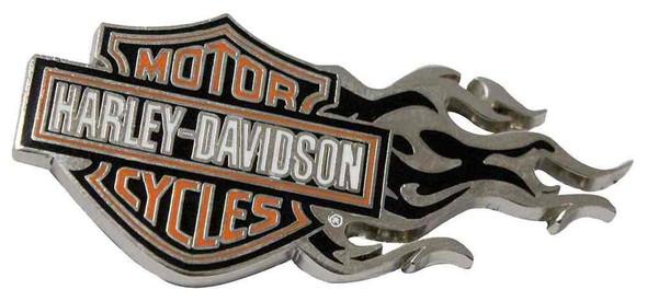 Harley-Davidson Flaming Bar & Shield Logo Pin Orange/Silver 1.75 x .75 in V51999 - Wisconsin Harley-Davidson