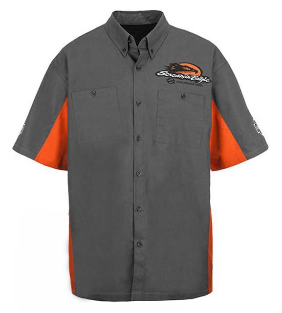 Harley-Davidson Men's Screamin' Eagle Colorblock Crew S/S Woven Shirt HARLMW0050 - Wisconsin Harley-Davidson