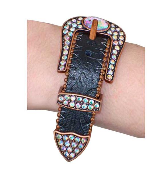 That's A Wrap Women's Colorful Rhinestone Belt Buckle Bracelet LC306B-Black - Wisconsin Harley-Davidson