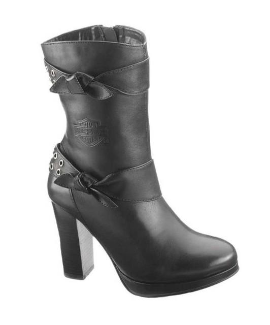 Harley-Davidson Women's Estelle Black 7-Inch Boots, 4-Inch Heels D85426 - Wisconsin Harley-Davidson