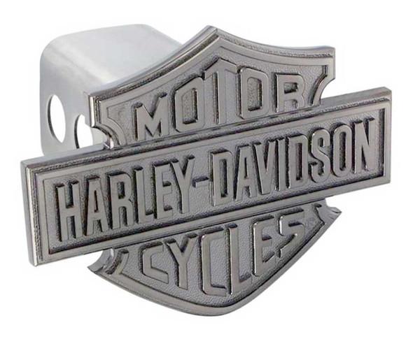 Harley-Davidson Trailer Hitch Cover, Black Metal Bar & Shield, 2 Inch HDHC13-K - Wisconsin Harley-Davidson