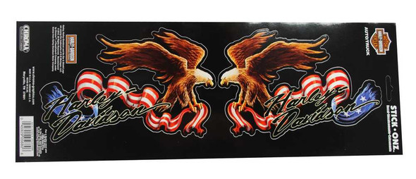 Harley-Davidson American Eagle Ripped Flag Stick Onz Decal, 7 x 4.5 Inch CG5680 - Wisconsin Harley-Davidson