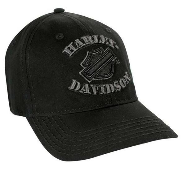 Harley-Davidson Grounded Logo Black Baseball Cap, Stretch Fit BC113030 - Wisconsin Harley-Davidson