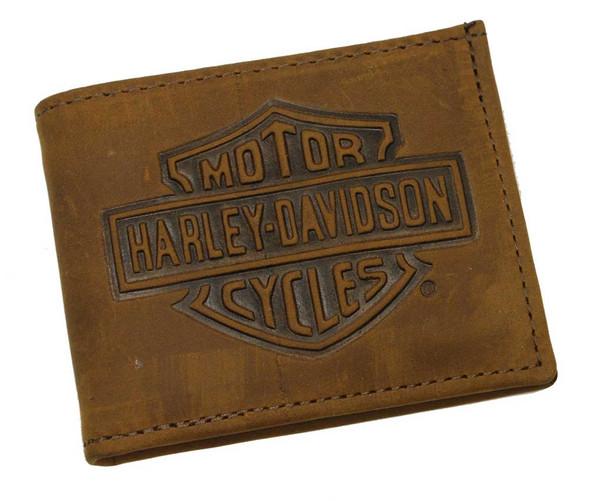 Harley-Davidson Men's Embossed Bar & Shield Bi-fold Wallet Brown Leather FB306H - Wisconsin Harley-Davidson