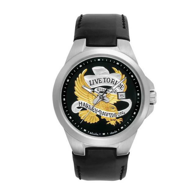 Harley-Davidson Men's Bulova Golden Eagle Wrist Watch 76B155 - Wisconsin Harley-Davidson