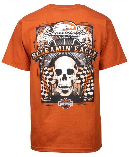 Harley-Davidson Men's Screamin' Eagle Poster On Texas Orange T-Shirt HARLMT0151 - Wisconsin Harley-Davidson