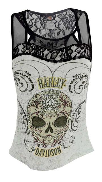 Harley-Davidson Women's Tank Top, Embellished Sugar Coated Skull HD415-025M - Wisconsin Harley-Davidson