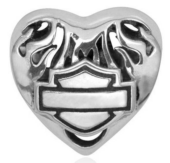 Harley-Davidson Flaming Heart Bar & Shield Sterling Silver Ride Bead HDD0052 - Wisconsin Harley-Davidson