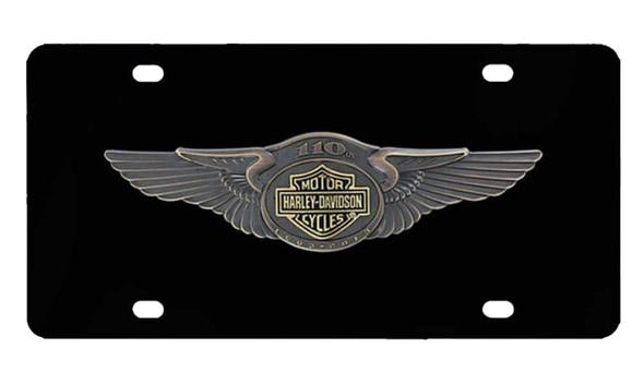 Harley-Davidson 110th Anniversary Bar & Shield License Plate Black HDLPDK237 - Wisconsin Harley-Davidson